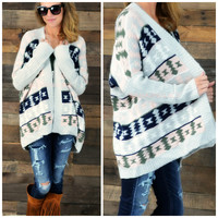 Folk Art Retreat Navy Tribal Print Cardigan - One