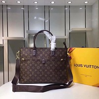 LV Louis Vuitton MONOGRAM CANVAS BRIEFCASE CROSS BODY BAG