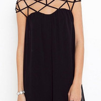 Black Cut Out Mini Chiffon Dress