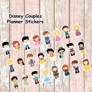 Disney Couples Planner Stickers | Erin Condren | Inkwell | Kikki K | Filofax | Plum Planner | Sticker | Disney | Prince | Princess | Cute |