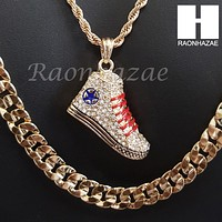 "HIP HOP SNEAKER ROPE CHAIN DIAMOND CUT 30"" CUBAN LINK CHAIN NECKLACE 62"