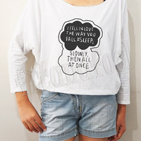 I Fell In Love The Way You Fall Asleep Shirt Rain Cloud Shirt Bat Sleeve Tee Crop Long Sleeve Oversized Sweatshirt Women Shirts - FREE SIZE