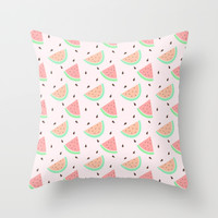 Cute Watermelon Throw Pillow by Adorkible