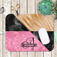 Monogrammed Mouse pad Custom Monogrammed Mouse Pad Personalized Mouse pad  Zebra Mouse pad dorm gift for her Glitter and Marble mousepad