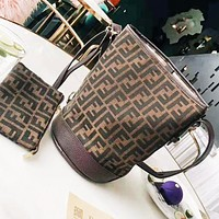 Fendi New fashion more letter canvas leather shoulder bag two piece suit bucket bag women Coffee