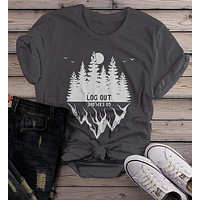 Women's Forest Hipster T-Shirt Camping Graphic Tee Log Out Shirts Mountains Explore TShirt