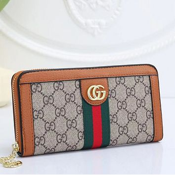 GUCCI Women Leather Print High Quality Wallet Purse