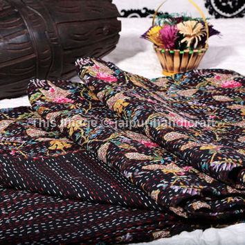 Black Paradise Kantha Quilt, Indian Bedspread Blanket Throw Cotton Gudari, Floral Bird print, Queen Black Color Paradise Print Bedspread