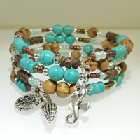 Handmade Memory Wire Cuff Memory Wire Bracelet Turquoise Bracelet Wood Bracelet Boho Bracelet Beach Stack Bracelet Valentine's Gift for Her