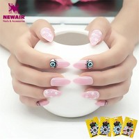 Long Pink Stiletto False Nails Full Cover Evil Eye Fake Nail Tips with Glue Colored Artificial Nail Salon UV Gel Manicure
