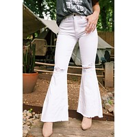June High Rise Super Flare Distressed Jeans, White