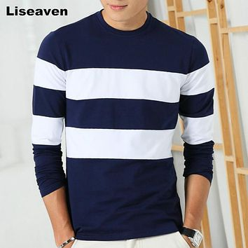 Mens Long Sleeve T-Shirt-Striped T Shirt for Men