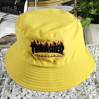 Thrasher New fashion embroidery letter couple cap hat Yellow