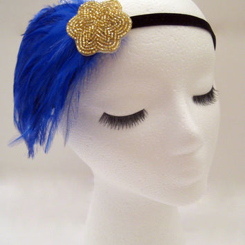 The Lucille - blue Gatsby headband, blue 1920s hairpiece, art deco headpiece feather, burlesque headdress, blue fascinator, 1930s headpiece