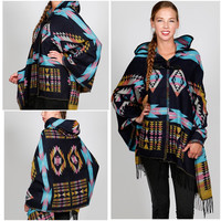 New Blue Boho Hippie Chic Tribal Blanket Poncho Cardigan With Hood One Size S-2X
