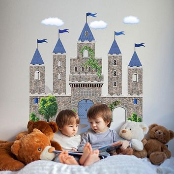 Stonewall Medieval Castle Wall Decal with Blue Turrets & Flags Wall Stickers