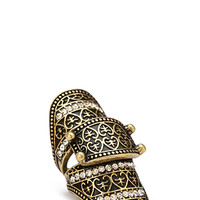 FOREVER 21 Etched & Rhinestone Knuckle Ring Burnished Gold