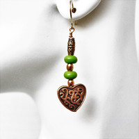 Green Turquoise and Copper Hearts Earrings with Gold Filled Ear Wires