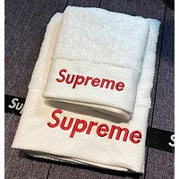 Supreme Trending Women Men Simple Letter Embroidery Cotton Soft Water Absorption White Couple Towel