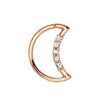 Annealed Rose Gold Plated Jeweled Crescent Moon WildKlass Cartilage Earring