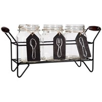 Del Sol Panel 3-Section Flatware Caddy in Black