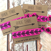 Bachelorette Hair Tie Party Favors // Bride Tribe To Have And To Hold Your Hair Back // Aztec Arrow