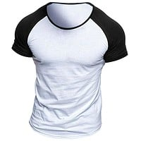 Fashion Casual Men Color-block Raglan Sleeve Baseball Tee