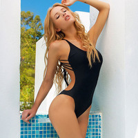 Sexy Back More Rope Beach Swimsuit One Piece Bikini Halter
