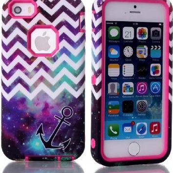 iPhone 5S Case, MOKOU Hybrid High Impact 3 Layers Chevron with Anchor on Galaxy Pattern Hard Back Cover Case for iphone5 5S (Hot Pink)