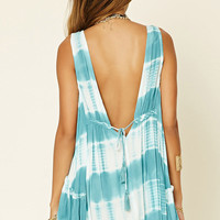 V-Cut Tie-Dye Swing Dress