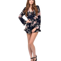 1970s Style Navy & Floral Long Sleeve Romper