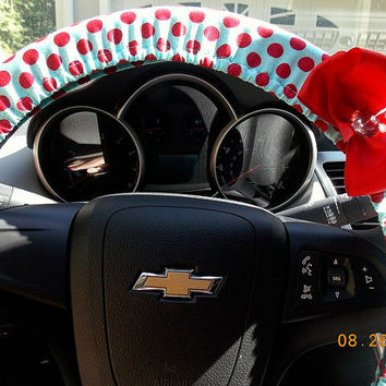 Steering Wheel Cover  Red and Teal Polka dot  Car Accessories Bling Bow