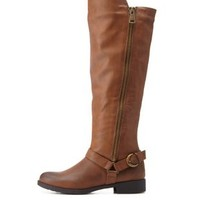 Cognac Qupid Harnessed Riding Boots by Qupid at Charlotte Russe