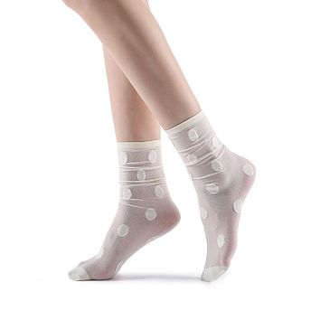 Marella Polka Sheer Mid High Sock | White