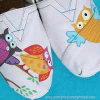 Whimsical TOMS with owls by StacyRheaShoes on Etsy