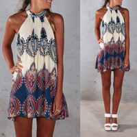 Beige Sleeveless Halterneck with All-Over Print and Back Keyhole Mini Dress