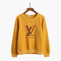 Louis Vutitton Women Casual Multicolor Logo Letter Print Thickened Long Sleeve Sweater Tops