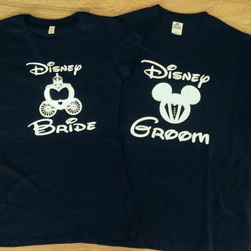 Free/Fast Shipping on Inspired Disney's Bride and Groom couple shirts.