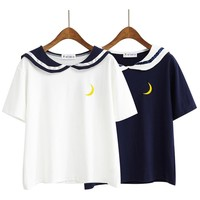 2018 Women'S Punk Harajuku Ulzzang Behalf Of The Moon To Destroy Your Embroidered Lapel Sailor Collar T-Shirt Female Kawaii