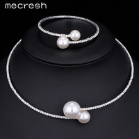 Mecresh Simple Simulated Pearl Bridal Jewelry Sets Fashion Crystal Wedding Choker Necklace Bracelet Sets for Women MTL415