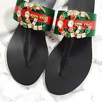 Gucci Slippers Colorful Diamond Agate Glip-flops Double G Bronze Metal Logo Green Stripe
