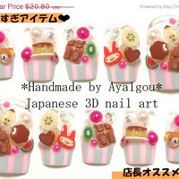 ON SALE Deco nails, kawaii 3D nails, from japan, puddi puddi why so puddi