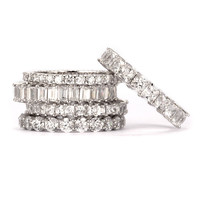 SusanB.Designs Simulated Diamond Set of 5 Stackable Rings Sterling Silver