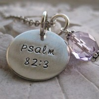 Bible Verse Hand Stamped Sterling Silver Custom by PeaceofMind