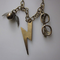 Harry Necklace. Winged Ball Snitch Lightning Bolt and Eyeglasses.