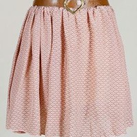 Heart String Butterfly Link Pattern Skirt w/ Belt in Peachy Pink | Sincerely Sweet Boutique