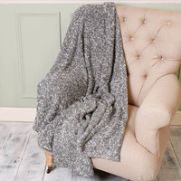 Luxury Grey Knitted Throw Blanket