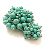 Rare Mastercraft Turquoise Beads Large Dress Clip, Early Frank Tortolani Mark, Silver Tone Metal, Turquoise Beads, Collectible, Gift for Her