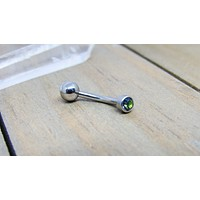 14g VCH titanium curved barbell floating navel piercing jewelry internally threaded pick your length mystic topaz gem