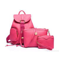 2016 Women Backpack Fashion Brand Leather Knapsack Girl's School Bags Luggage Travel Mochilas+Day Clutches 3PCS Bag Sets
